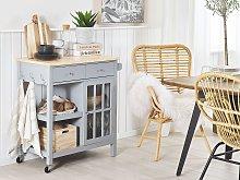 Kitchen Trolley Grey MDF Light Wood Top Storage