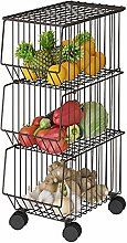 Kitchen Trolley Metal Wire Basket With Wheels And