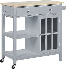 Kitchen Trolley Prep Cart Grey Light Wood Top with