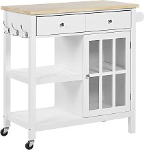 Kitchen Trolley Prep Cart White Light Wood Top