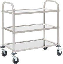Kitchen Trolley Stainless Steel 3-Tier 87x45x83.5