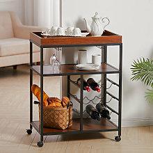 Kitchen Trolley Tea Tray Wood Storage Shelf 3 Tier