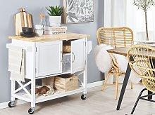 Kitchen Trolley White MDF Light Wood Top Storage