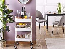 Kitchen Trolley White Metal Pine Detachable Top