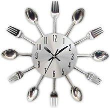 Kitchen utensil clock in stainless steel - Wall