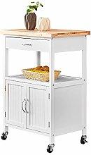 Kitchen White Storage Sideboard Cupboard Trolley