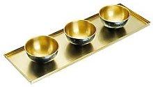 Kitchencraft ArtesÀ Hammered Brass Serving Platter With 3 Serving Bowls