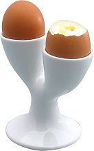 KitchenCraft Double Egg Cup, Porcelain, White, 11