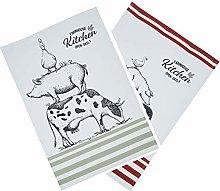 KitchenCraft Tea Towels Set, 'Farmhouse'