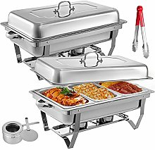 KITGARN 2 Packs Stainless Steel Chafing Dishes 3 1