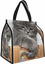 Kitten Basket Gray Muzzle Lunch Tote Bags