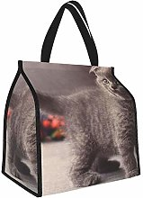 Kitten Briton Gray Cat Lunch Tote Bags Insulated