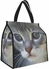 Kitten Face Gray Fur Lunch Tote Bags Insulated