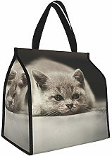 Kitten Gray Lie Lunch Tote Bags Insulated Lunch