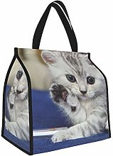 Kitten Gray White Striped Lunch Tote Bags