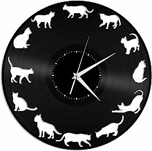Kitten silhouette vinyl wall clock gift for animal