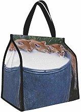 Kittens Bucket Milk Food Drink Rustic Lunch Tote