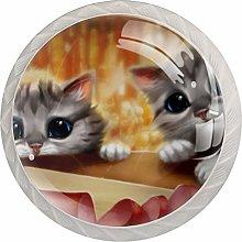 Kittens Seeing 4PCS Drawer Knobs,Cabinet