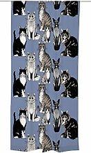 Kitties Curtain 140x240 cm blue