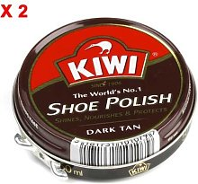 Kiwi Dark Tan Shoe Polish 50Ml x 2 Tins