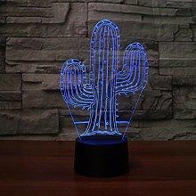 KJFGKF@ 3D Night Light 3D LED Visual Cactus