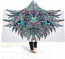 Kjhds Winter Color Animal Print Hooded Blanket,