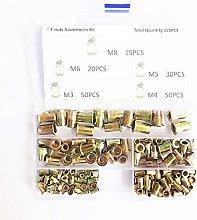 KKmoon 300Pcs Assorted Rivet Nut Set Zinc Plated