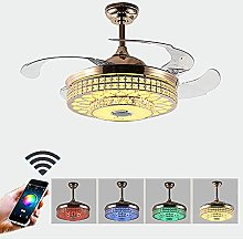 KLDDE Crystal Ceiling Fan with Light and Remote