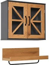 Kleankin 2PC Wall Mounted Bathroom Set Cabinet and