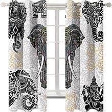KLily Bohemian Style Elephant Curtain Round Hole