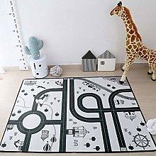 KLLKR Kids Carpet for Boy Playmat Car Rug City
