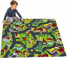 KLLKR Kids Carpet Rug City Map for Cars