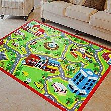 KLLKR Kids Carpet Rug City Map for Cars Playmat