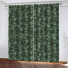 Kllomm Blackout Curtains Army green painted set