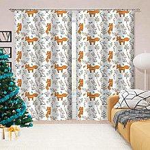 Kllomm Blackout Curtains Fox rabbit animal Window
