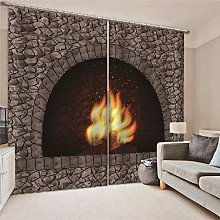 Kllomm Blackout Curtains Raging fire Living room