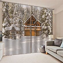 Kllomm Blackout Curtains Snow house Living room