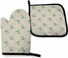 Klotr Oven Mitts and Pot Holders Sets, Cute Green