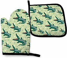 Klotr Oven Mitts and Pot Holders Sets, Green