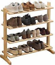KMMK 4-Tier Pine Shoe Rack Storage   Free Standing