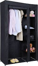 KMS Large Double Black Canvas Wardrobe Steel Frame