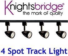 Knightsbridge Black Track Lighting Set Kit 4x