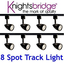 Knightsbridge Black Track Lighting Set Kit 8X