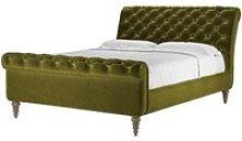 Knightsbridge King Bed in Olive Cotton Matt Velvet