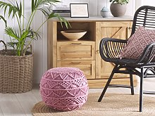 Knitted Pouffe Pink Cotton Chunky Crochet Round