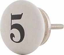 Knober Furniture Knob Ceramic White Number 0-9