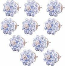 Knober Furniture Knobs Ceramic White Blue