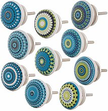 Knober Set of 10 ceramic furniture knobs, mandala