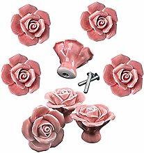 Knobs Elegant Pink Rose Pulls Flower Ceramic