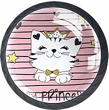 Knobs for Dresser Drawers Cute Princess Cat Round